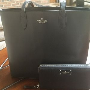 Kate Spade Leather Black Tote W matching Wallet